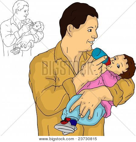 vector - father with his baby, isolated on background