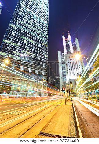 car light trails in mega city