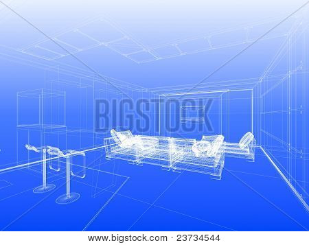 Blueprint With Wireframe Interior