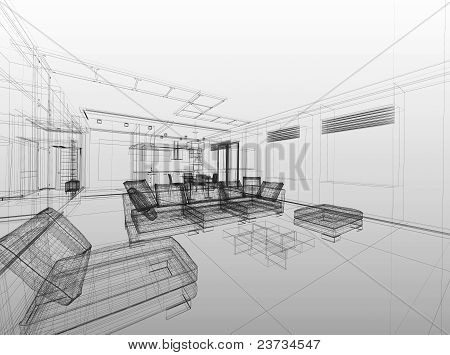 Abstract Wireframe Interior