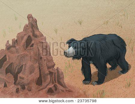 Sloth Bear Meets Termite Mound