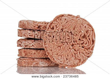 closeup frozen hamburgers