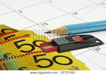 Calander Money Pencil