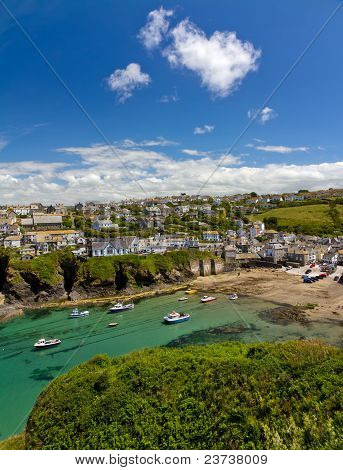 Harbour of Port Isaac with blue skies Cornwall England