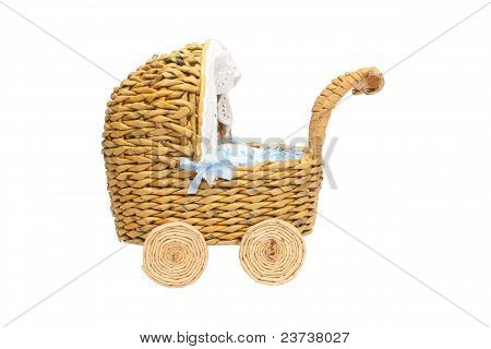 Paper stroller as decoration isolated on white
