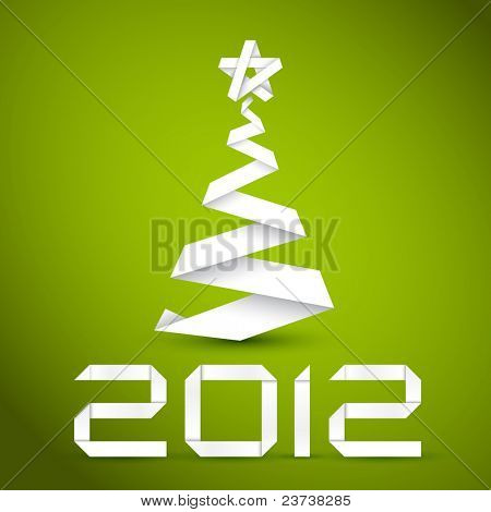 Simple vector christmas tree made from white paper stripe - original new year card
