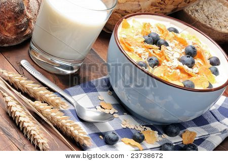 Healthy Breakfast With Cereals And Blueberries