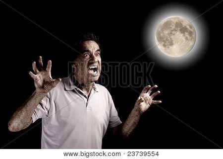 Unheimlich Mann Werwolf Fango Bestie unter Vollmond zu Halloween