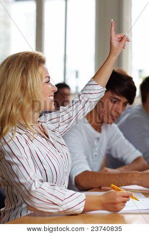 Student Raising Her Hand
