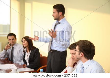 Leadership - Male Boss Speech At The Meeting