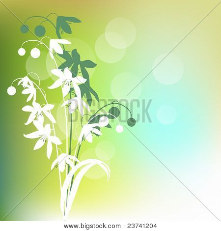 Light green background with contour spring flowers. Raster version.
