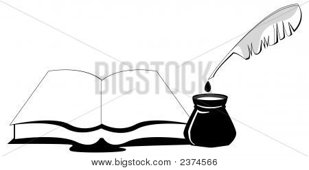 Book With Ink Pot And Feather