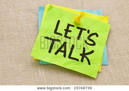 Let Us Talk On Sticky Note