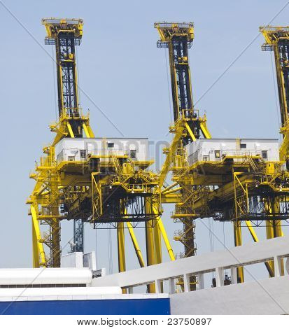 Container Cranes In A Port Or Dock