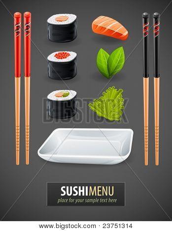 Sushi-Informationen über japanische Küche - Zutaten, Fisch, Stäbchen und Platte. Vektor-illustration