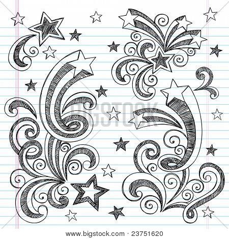 Shooting Stars Hand-Drawn Sketchy Back to School Notebook Doodles with Starbursts, Swirls, and Stars- Vector Illustration Design Elements on Lined Sketchbook Paper Background