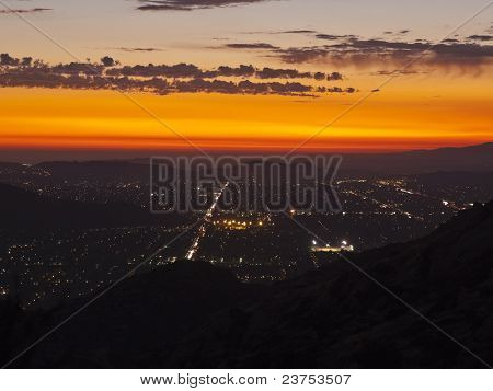 Simi Valley in Southern California at night.  Shot from Rocky Peak Park