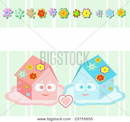Vector, toy small houses - friends, girl and boy