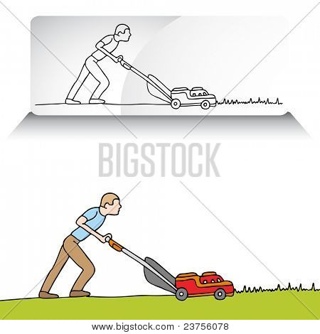 An image of a man mowing the lawn with a lawnmower.
