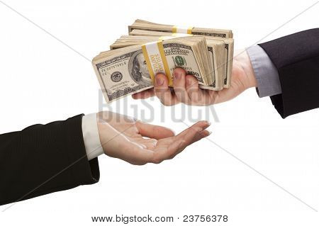 Handing Over Stacks of Cash to Other Hand Isolated on a White Background.