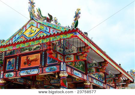 Grand Chinese Buddha Temple Fully Decorated
