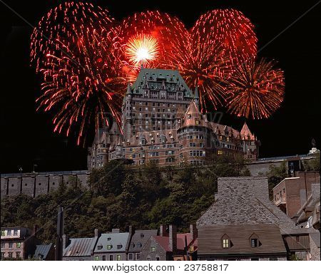 Hotel Frontenac with Fireworks