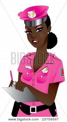 Mujer policía rosa