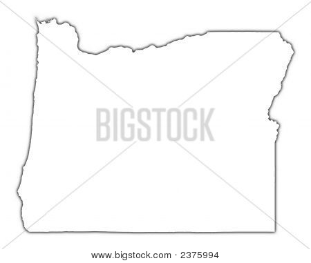 Oregon (Usa) Outline Map With Shadow