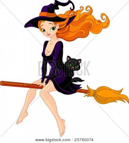Illustration of witch riding a broom