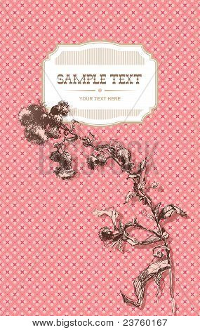 Vintage Cover With Thistle (cirsium) On A Pink Patterned Background
