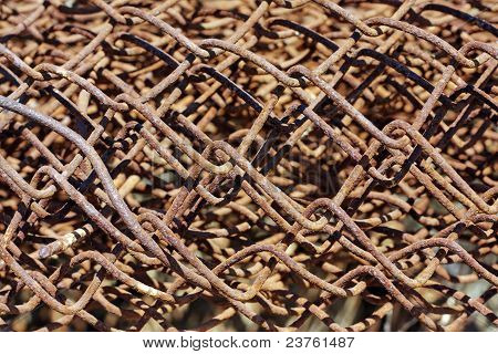 Rust Wire Fence