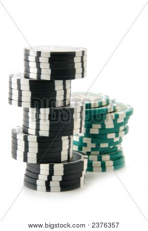 Two Stacks Of Casino Chips