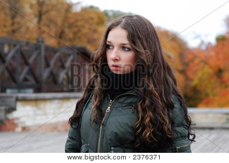 Young Model With Dark Hairs. Fall. Autumn