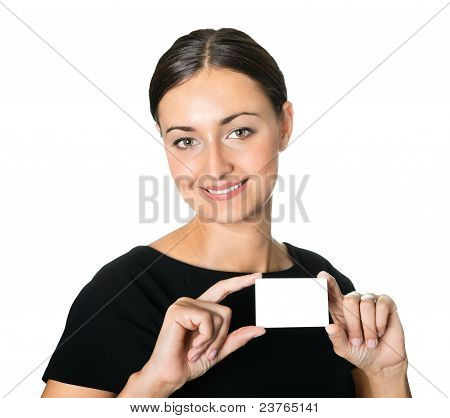 Young beautiful woman presenting her business card
