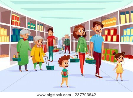01ad7ca550999 Poster of People In Supermarket Vector Illustration. Flat Cartoon Design Of  Family Mother, Father And Children