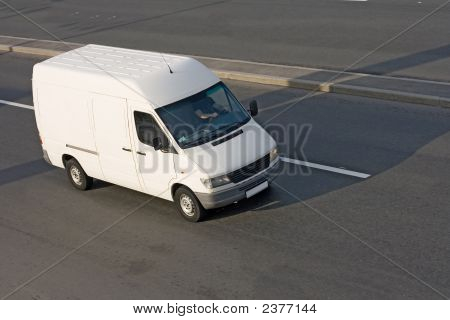 White Cargo Blank Shuttle Bus Part Of