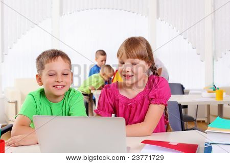 Boy and girl working together