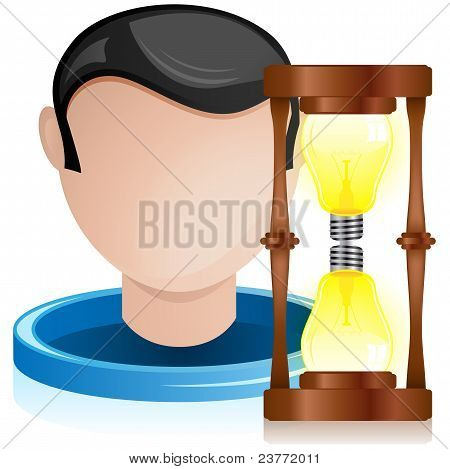 Man Head With Light Bulb Hourglass
