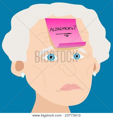 Senior Woman With Alzheimer Kurznotiz