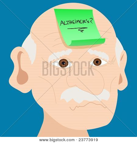 Senior Man With Alzheimer Sticky Note