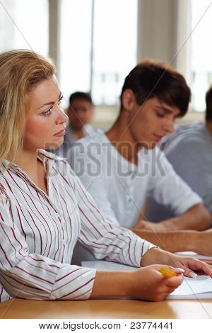 Female Student In University Class