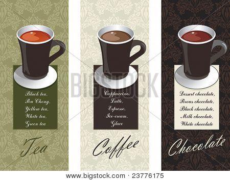 Diseños de elegancia que representan diferentes bebidas: café, té y chocolate. Ilustración del vector.