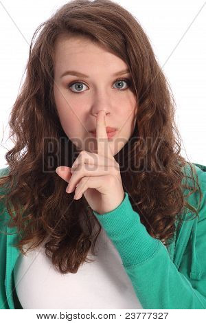 Teenager Girl With Blue Eyes Keeping A Secret