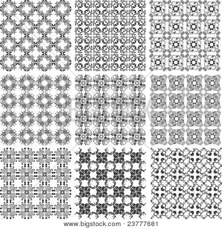 Set of metal grids vintage background vector