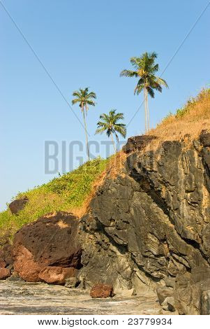 Rocky Coast Of Arabian Sea In Goa