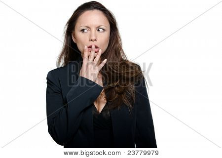 Portrait of beautiful expressive afraid Asian woman looking away in studio isolated on white background