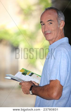 senior reading brochure