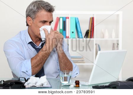 Office worker suffering from a cold