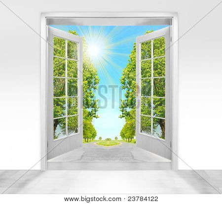 Opened door to morning in green landscape - conceptual image - environmental business metaphor.
