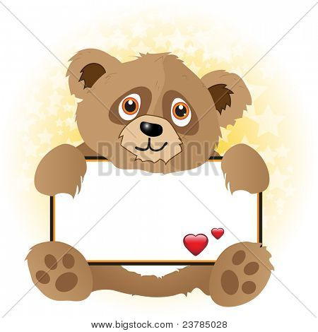 A cute cartoon bear holding a banner with hearts on subtle star background. Space for your text. EPS10 vector format